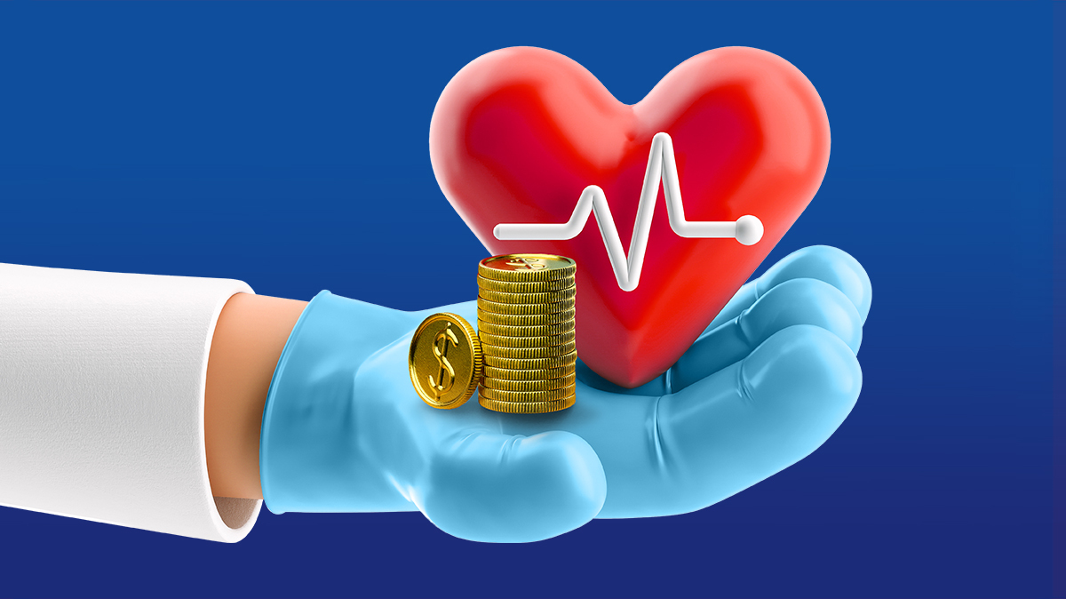 Cartoon hand in latex glove holding coins and heartbeat icon.